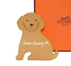 CUTE HERMES LEATHER PUPPY DOG PIKABOOK CHARM BOOKMARK PAGE MARKER 4Ur Lindy #Hermes