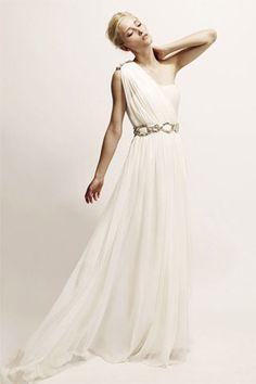 flowing white Marchesa gown beach