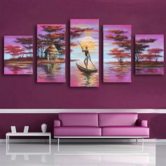 100% Hand painted Pink Africa lake boat Abstract landscape Wall home Decor Oil…
