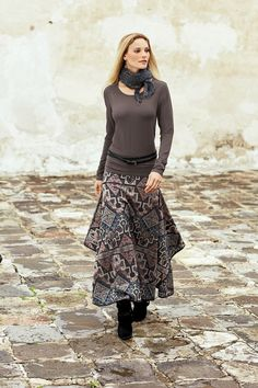 Love this whole outfit! Tatiana Skirt, Layering Tee, Stargazer Scarf, Black Double-Wrap Belt