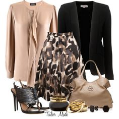 MaxMara Animal Print Skirt- A Day in the Office, created by taliormade on Polyvore