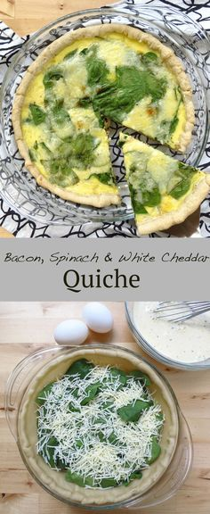 Bacon Spinach Cheddar Quiche (with Caramelized Onions) - Joyous Apron Potluck Dishes, White Cheddar, Quiche Recipes, Caramelized Onions, Easter Recipes, Breakfast Recipes, Breakfast Ideas, Food Inspiration, Spinach
