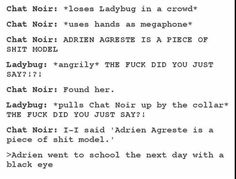 Next day at school Marinette: *worried about how Adrien got a black eye*