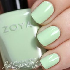 Zoya Tiana swatch - Spring 2015 via @alllacqueredup. Zoya Tiana is a pistachio green creme. It was the most challenging formula to work with of the three cremes. If you have Zoya Neely, this is a brighter, less greyed/muted version.