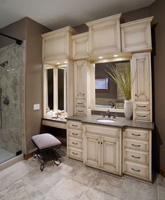 built in double vanities | Bathroom vanity with built-in cabinets around mirrors @ Home ...