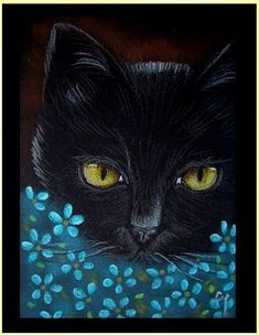 Cyra R. Cancel  | Black Cat - Katze 17 - by Cyra R. Cancel from Gallery #CyraCancelArt #Cyra #Art