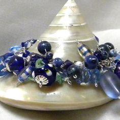 Cluster Bracelet Blue Cluster Bracelet Beaded by marilyn1545, $40.00