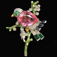 Trifari 'Alfred Philippe' Single Pink Topaz Bird on Branch Pin Clip, 1942