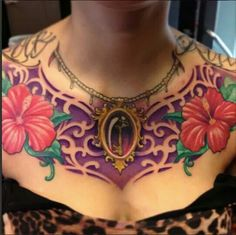 Cameo, hibiscus's, chest tattoo