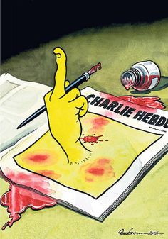 Dave Brown, political cartoonist for British newspaper The Independent, drew this cartoon for the cover of the publication on Jan. 8, 2015. The image shows a middle finger erected from an issue of Charlie Hebdo stained with red ink, symbolizing that they will not stop their freedom of speech due to the attacks.