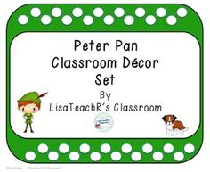 All the world is made of faith, and trust, and pixie dust.-J.M.Barrie, Peter PanWouldn't a Peter Pan themed classroom be awesome?  This set will help you on your way to Neverland!This set includes:Lesson Plan book coverName plates- four stylesName tags four stylesTreat tagsAlphabet buntingNumbers 1-10Months of the yearDays of the week (large and small)       AND Pencil top pennants for birthdays and rewardsI also included blanks- just the frame and art of each style for your use.