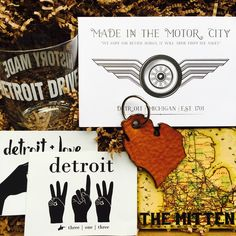 The Great Lakes Bundle - A perfect gift for a birthday, housewarming, party hostess or just because. Ideal for any Michigander or Great Lakes lover! Items included: Leather Michigan Key Chain by Harbinger Leather Design, Rocks Glass by Detroit Scroll, Motor City Print & Michigan Sticker by Small Moments, and a Michigan Map Tile Coaster by The Detroit Coaster Company.