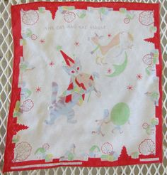 $25, Vintage The Cat and the Fiddle Golden Book Handkerchief designed by the Provensens, Red Edge with Blue and Purple Cat