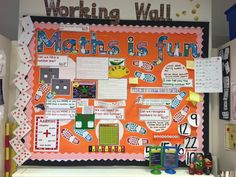 What a fun Maths wall! Lots of interactive things to do! Display writing from twinkl. Maths Working Wall, Math Wall, Display Lettering, Cool Lettering, School Displays, Classroom Displays, Teaching Aids, Teaching Math, Year 6 Classroom