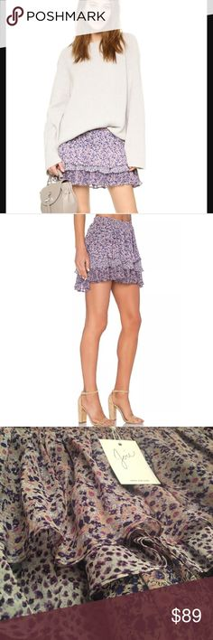 Joie ruffle mini skirt 100% silk Joie ruffle style skirt. Brand new with all tags. The one that I have is a darker shade of purple than the cover photo as you can see in my pictures. Joie Skirts Mini