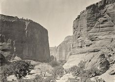 The head of Canyon de Chelly, looking past walls that rise some 1,200 feet above the canyon floor, in Arizona in 1873.