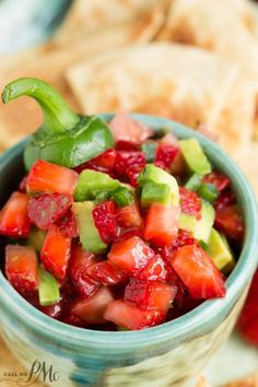 Strawberry Avocado Jalapeno Salsa with Baked Cinnamon Tortilla Chips is a fresh twist on salsa. This salsa is sweet with a touch of heat.