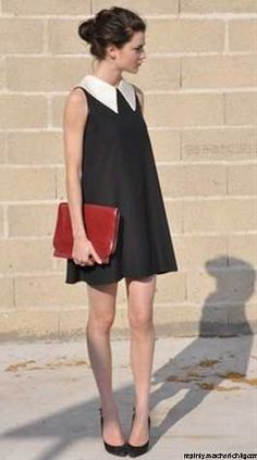 simple and chic, a very simple dress with an ott white colour gives a preppy feel to this sixties look.