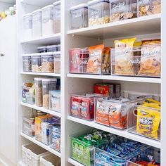 Pantry organization is my love language. The girls and I took everything out and started sorting. I cannot tell you how much smoother my life is once I clean out the fridge and pantry. Here's one of my favorite pantries from @thehomeedit. . . #homeorganiz