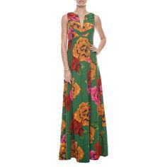 Vestido longo maxi flora - verde