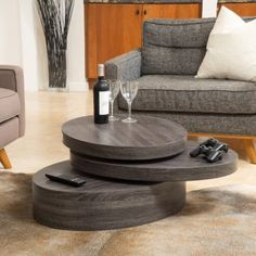 The Carson oval mod rotating wood coffee table offers a clear late vibe to any room it is placed in. With a rotating top this table is multi-functional and unique. Make a statement in your home w Furniture Deals, Living Room Furniture, Diy Furniture, Accent Furniture, Furniture Design, Circular Table, Sofa End Tables, Tea Tables, Black Table