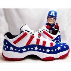 "Air Jordan XI Low ""Captain America"" Custom by Charlie Kirihara ❤ liked on Polyvore featuring nike"