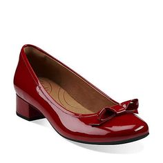 Charmed Bow in Red Leather - Womens Shoes from Clarks