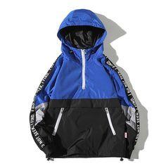 aa1f83153c Patchwork Side Letter Hooded Hip Hop Jacket - wearGG Windbreaker Jacket