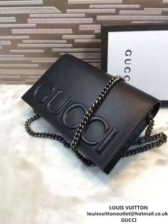 5c8a4b9cbb72 Gucci XL Leather Mini Chain Shoulder Bag 421850 Black 2016 Chain Shoulder  Bag