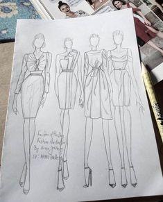 Dress Design Drawing, Dress Design Sketches, Fashion Design Sketchbook, Fashion Design Drawings, Fashion Figure Drawing, Fashion Drawing Dresses, Fashion Illustration Dresses, Fashion Illustrations, Fashion Model Sketch