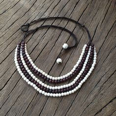 Ivory White and Chestnut Brown Howlite 5strand by PiscesAndFishes, $33.00