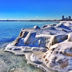The Milwaukee beaches are covered in fascinating ice formations.