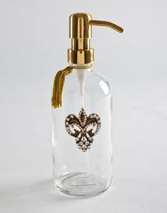 fleur de lis accent on glass dispenser