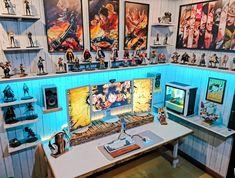 Final form of my One Piece setup Mission accomplished! Computer Desk Setup, Gaming Room Setup, Nerd Room, Gamer Room, The Last Airbender Anime, One Piece Games, Otaku Room, Game Room Design, Room Planning