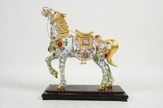 Vintage Chinese Bejeweled Cloisonne Enameled Horse With Wooden Stand Figurine