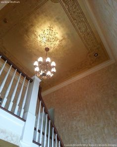 Stenciled Ceiling by Gina Wolfrum using custom Modello by Modello Designs | Paint + Pattern