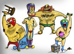 Ilustração de personagens luchadores inimigos do dia-a-dia - Restaurante Olé Mexicano