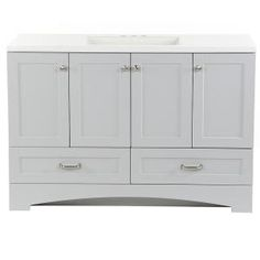 Glacier Bay Lancaster 49 in. W x 19 in. D Bath Vanity in Pearl Gray with Cultured Marble Vanity Top in White with White Sink - The Home Depot Granite Vanity Tops, Marble Vanity Tops, White Vanity, White Sink, Bathroom Vanity Tops, Vanity Sink, Marble Countertops, Bath Vanities, Sinks