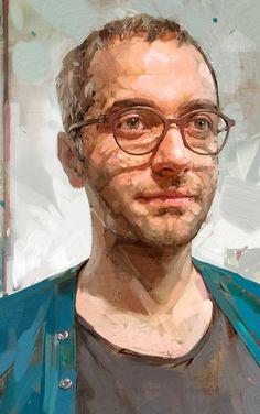 """Portrait of Arash"" - Ali Kiani Amin {figurative art male head eyeglasses man face cropped digital painting #loveart}"