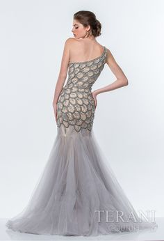 One shoulder sweetheart trumpet gown with peacock motif along the bodice, finished with a flared mesh skirt.