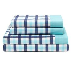 Tommy Hilfiger Palm Springs 180 Thread Count Gingham Sheet Set by Tommy Hilfiger Color: Bleached Aqua, Size: Full