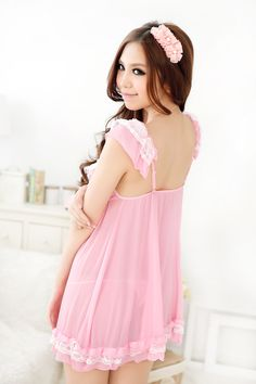 708ebc8bcfef Romantic pink cute sexy nightgown Pink Nightgown