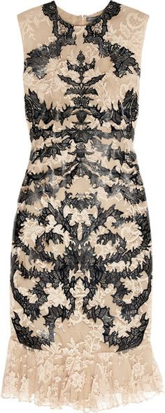 Alexander McQueen Lasercut Patentleather and Lace Dress dressmesweetiedarling