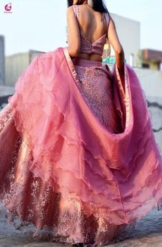 Pinkish Mauve Net Lehenga with Ruffle Dupatta- You can examine all tattoo models and print them out. Indian Fashion Dresses, Indian Gowns Dresses, Dress Indian Style, Indian Designer Outfits, Indian Outfits, Designer Dresses, Indian Attire, Net Dresses, Fashion Wear