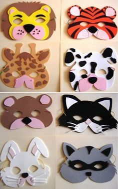8 patrons à imprimer! Tierische Mascaras von Abs o actividades escolares. Felt Crafts, Diy And Crafts, Craft Projects, Crafts For Kids, Paper Crafts, Cardboard Crafts, Simple Crafts, Clay Crafts, Animal Masks For Kids