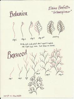 Botanica and Boxwood. Patterns by Elaine Benfatto / Urbanspinner.