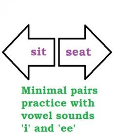 sit seat minimal pairs practice 'i' and 'ee' - Pinned by @PediaStaff – Please Visit  ht.ly/63sNt for all our pediatric therapy pins