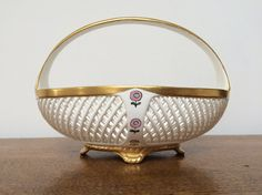 Dresden Porcelain Basket-Gilt Detail with by MartysAtticAuctions