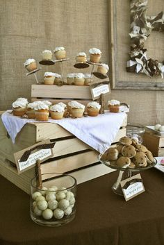 Charming Rustic Bridal Shower dessert table incorporating The Pastry Pedestal™ for displaying mini cupcakes...