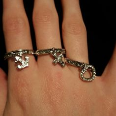 """Premier Designs """"Anchored"""" Rings Set of 3 rings with anchor, heart, and cross charms. Brand new, never worn. Premier Designs Jewelry Rings"""
